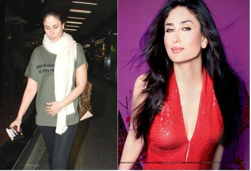 Kareena Kapoor without and with makeup