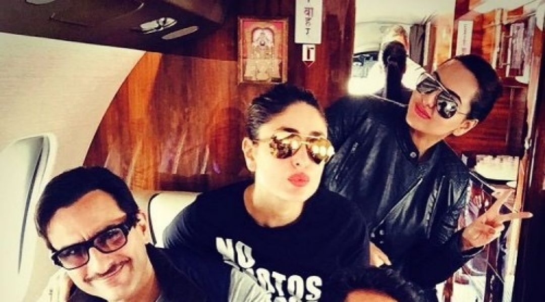 Here's Sonakshi with Saif and Kareena Pic inside an Airplane